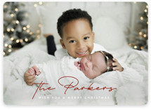 This is a red holiday photo card by Ekko Studio called Stylish Surname with standard printing on smooth signature in standard.