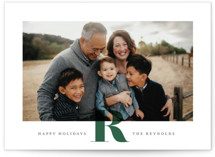 This is a green holiday photo card by Carrie ONeal called Minimal Initial with standard printing on smooth signature in standard.