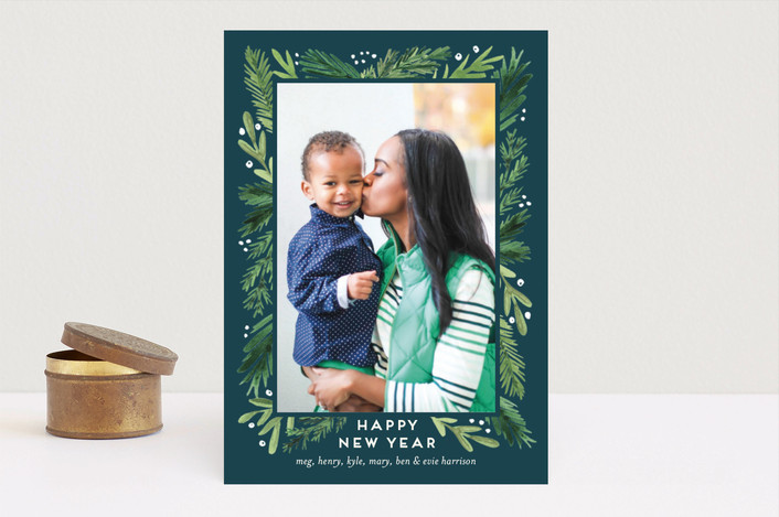 """""""Branches Framed"""" - Flora & Fauna Holiday Photo Cards in Cream by Amy Kross."""