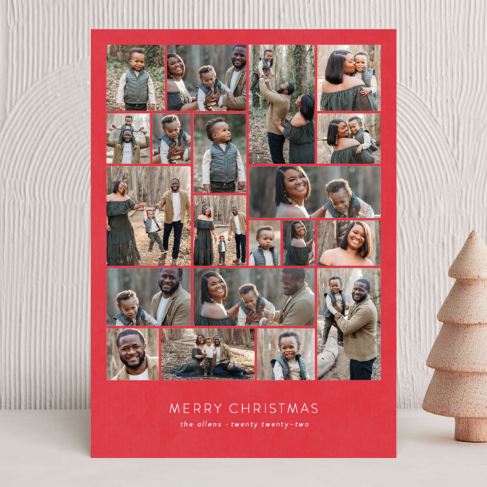 """""""Family Collage"""" - Holiday Photo Cards in Cherry by Roxy Cervantes."""