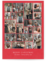 This is a red holiday photo card by Roxy Cervantes called Family Collage with standard printing on smooth signature in standard.