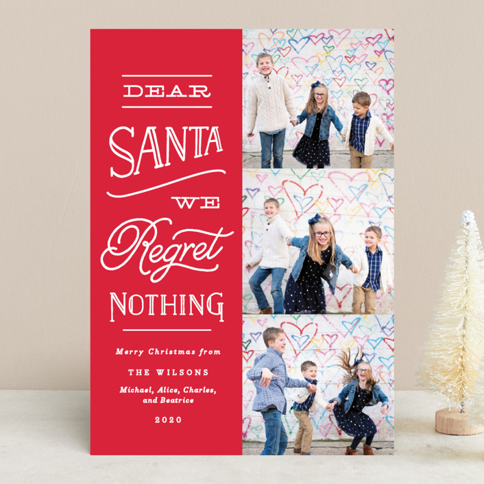 """""""No Regrets"""" - Funny Holiday Photo Cards in Cherry by Olivia Raufman."""