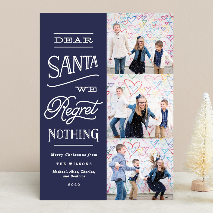"""""""No Regrets"""" - Holiday Photo Cards in Cherry by Olivia Raufman."""