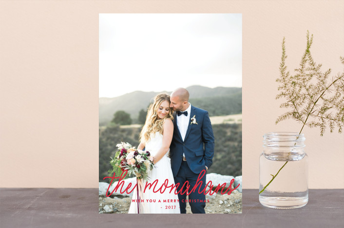 """that's our name"" - Holiday Photo Cards in Scarlet by Lizzy McGinn."