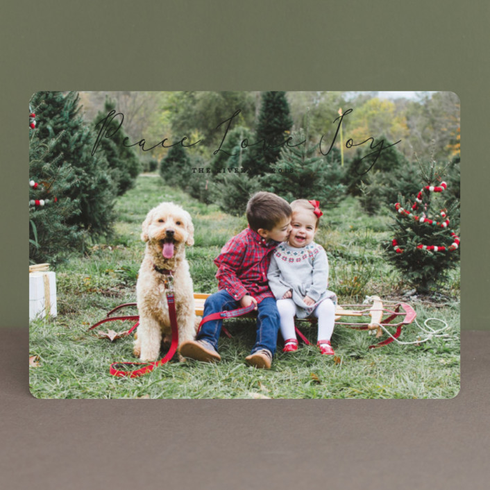 """Noted"" - Holiday Photo Cards in Midnight by Carolyn MacLaren."
