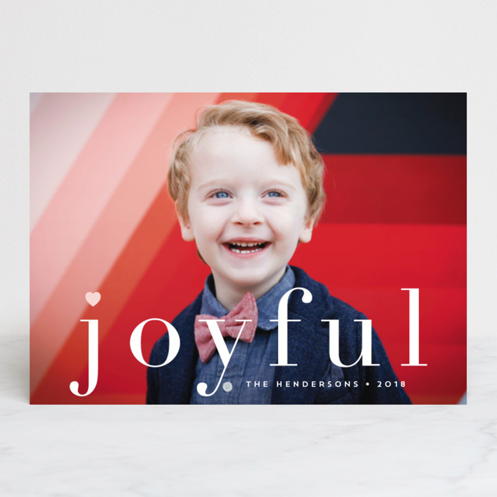 """joy from heart"" - Holiday Photo Cards in Petal by Qing Ji."