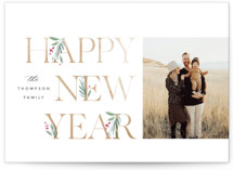 This is a white holiday photo card by Robert and Stella called Botanical Swash with standard printing on smooth signature in standard.