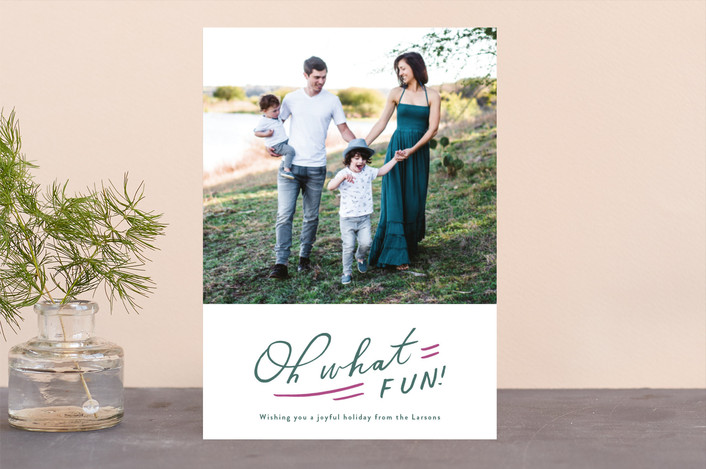 """Oh So Much Fun"" - Modern Holiday Photo Cards in Hunter by Moglea."