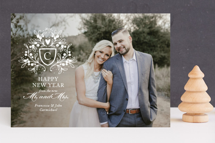 """""""Mistletoe Crest"""" - Holiday Photo Cards in Snow by Paper Raven Co.."""