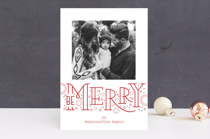 """Merry Bursts"" - Modern Holiday Photo Cards in Poinsettia by SunnyJuly."