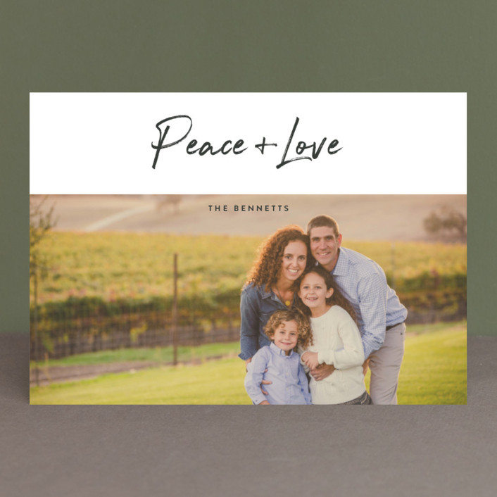 """""""Modern sentiment"""" - Holiday Photo Cards in Soapstone by Stacey Meacham."""