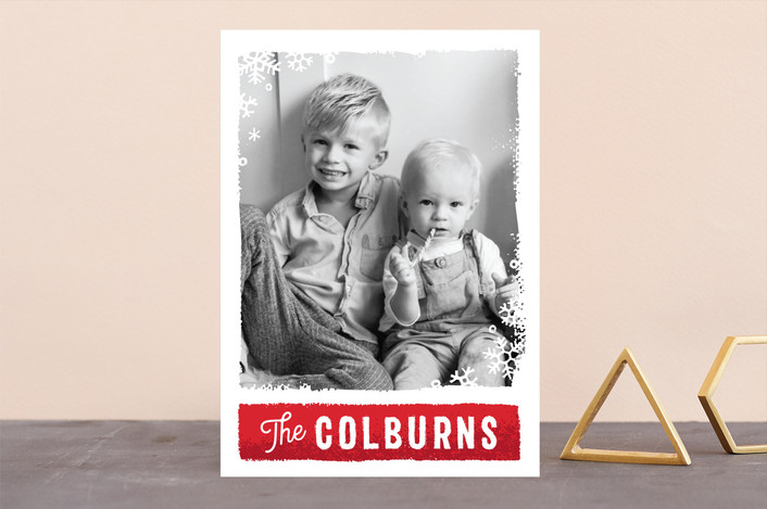 """Holiday Panels"" - Holiday Photo Cards in Cardinal by GeekInk Design."