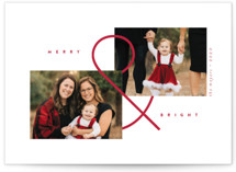 This is a red holiday photo card by peony papeterie called Ampersand with standard printing on smooth signature in standard.