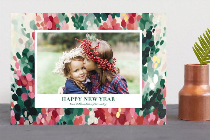 """Hollyhocks"" - Bohemian Holiday Photo Cards in Evergreen by Iron Range Artery."