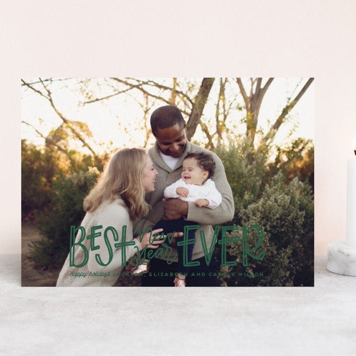 """Jingle"" - Holiday Photo Cards in Snow by Leah Bisch."