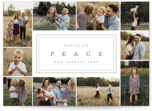 This is a grey holiday photo card by peony papeterie called Bordering Peace with standard printing on smooth signature in standard.