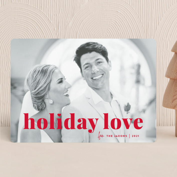 """""""vintage holiday love"""" - Holiday Photo Cards in Holly by Sara Hicks Malone."""
