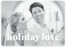This is a white holiday photo card by Sara Hicks Malone called vintage holiday love with standard printing on smooth signature in standard.