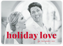 This is a red holiday photo card by Sara Hicks Malone called vintage holiday love with standard printing on smooth signature in standard.