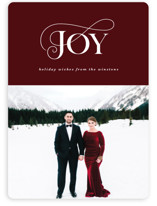 This is a red holiday photo card by Ekko Studio called Elegantly Stated with standard printing on smooth signature in standard.