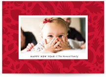 This is a red holiday photo card by Genna Cowsert called Shapes with standard printing on smooth signature in standard.