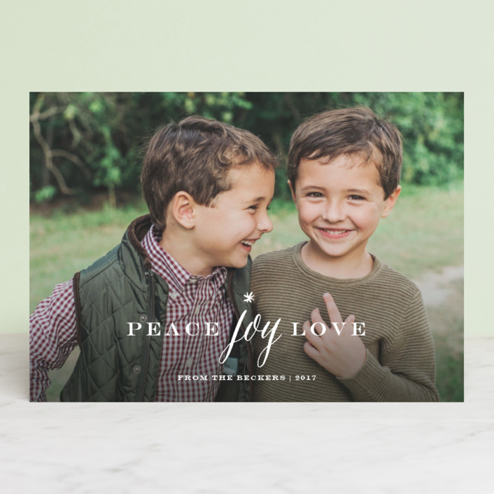 """Peace Joy Love"" - Holiday Photo Cards in Snow by Sarah Curry."