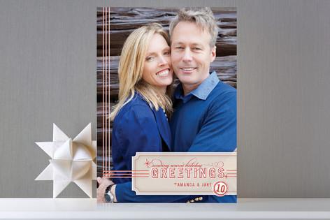 Retro Greeting Holiday Photo Cards