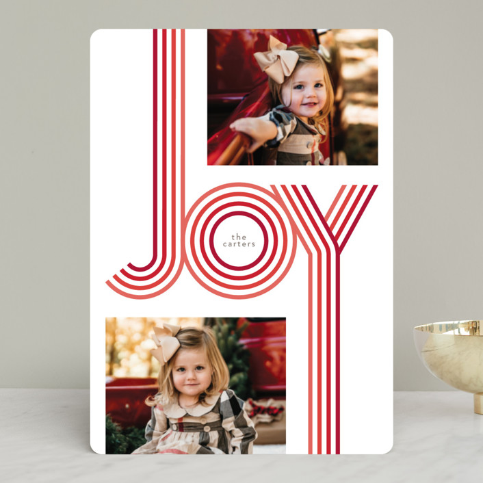 """Groovy"" - Vintage Holiday Photo Cards in Candy Cane by GeekInk Design."