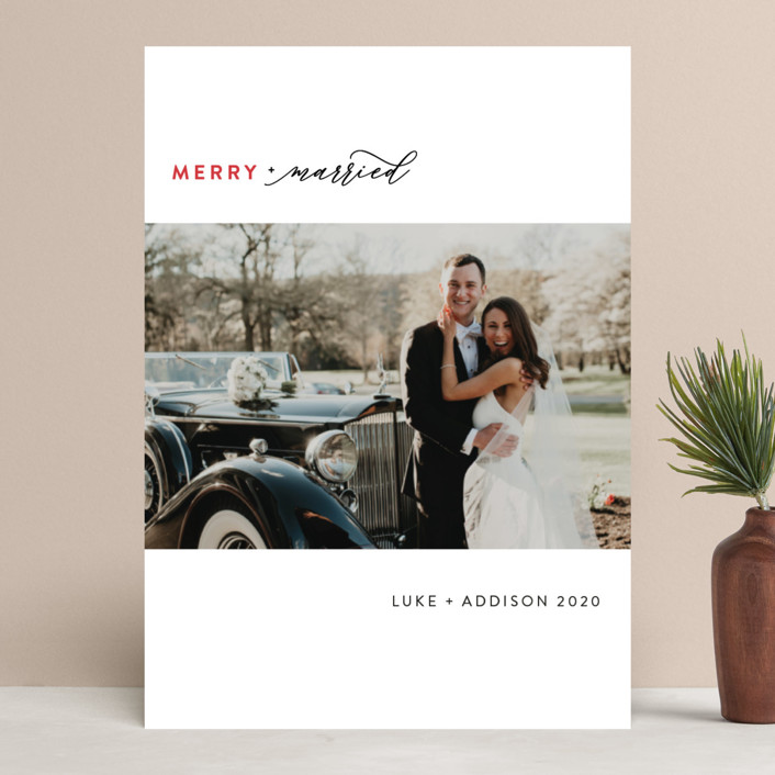 """""""Simply Married"""" - Holiday Photo Cards in Cranberry by Christie Garcia."""