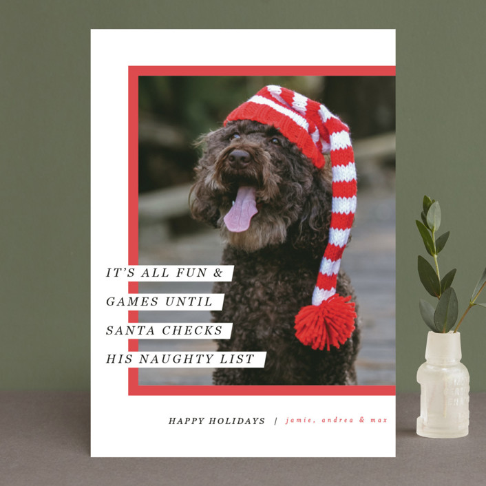 """""""Santa's Pet"""" - Holiday Photo Cards in Cherry by Pixel and Hank."""
