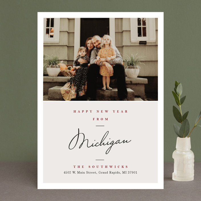 """""""Holiday Greetings from"""" - Holiday Photo Cards in Wine by Pixel and Hank."""