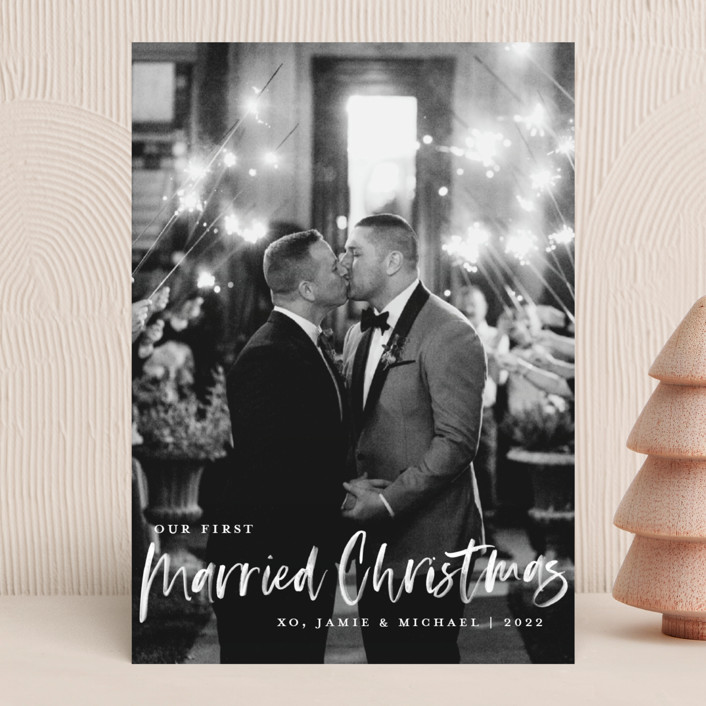 """""""Our First Married Christmas"""" - Holiday Photo Cards in Snow by Kerry Doyle - Paper Dahlia."""