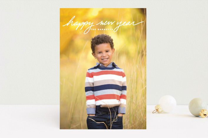 """Simple Message"" - Holiday Photo Cards in Frost by Oscar & Emma."