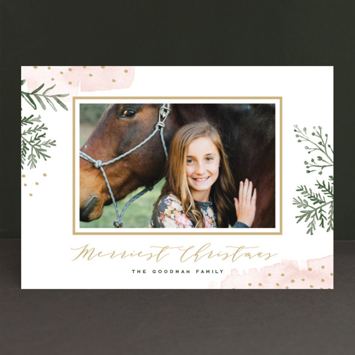 """Watercolor Winter"" - Bohemian Holiday Photo Cards in Petal by Oscar & Emma."