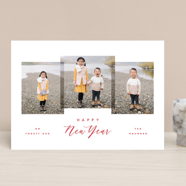 """""""Delightful Trio"""" - Holiday Photo Cards in Cherry by Hooray Creative."""