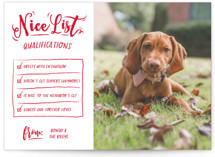 This is a red holiday photo card by Kayla King called The Furry Nice List with standard printing on smooth signature in standard.