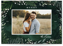 This is a green holiday photo card by Petra Kern called Winter Fairytale with standard printing on smooth signature in standard.