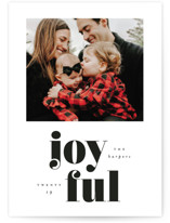 This is a black holiday photo card by Ink and Letter called Bold Joyful with standard printing on smooth signature in standard.