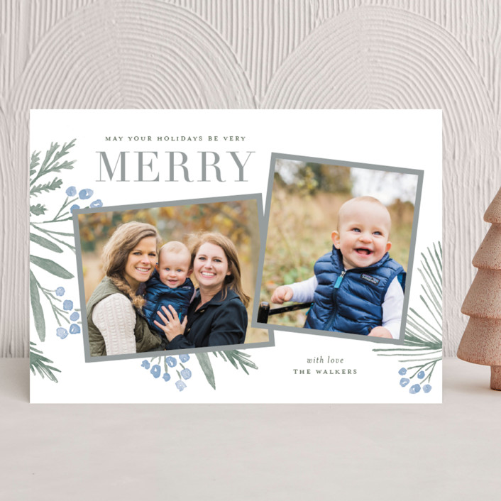 """""""Holidays Upon Us"""" - Holiday Photo Cards in Cool Grey by Oscar & Emma."""