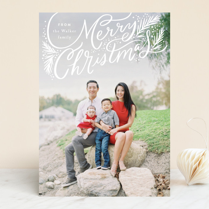 """""""Swooping Christmas Pines"""" - Holiday Photo Cards in Snow by Alethea and Ruth."""