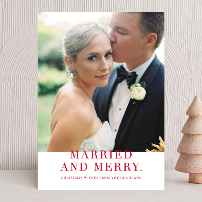"""""""Married and Merry"""" - Holiday Photo Cards in Candy by Vanessa Doyle."""