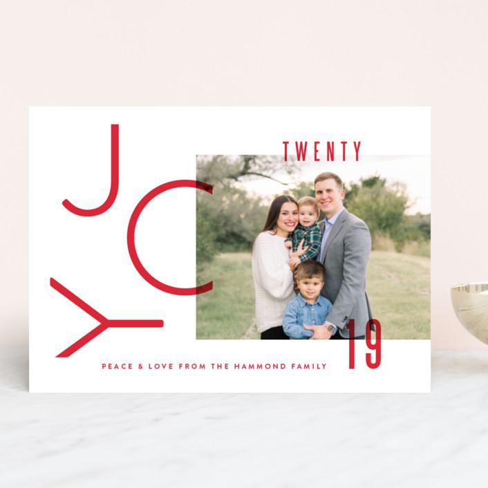 """Modern Joy"" - Holiday Photo Cards in Berry by Oscar & Emma."