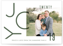 This is a green holiday photo card by Oscar & Emma called Modern Joy with standard printing on smooth signature in standard.