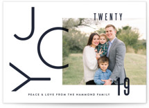 This is a blue holiday photo card by Oscar & Emma called Modern Joy with standard printing on smooth signature in standard.