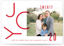 This is a red holiday photo card by Oscar & Emma called Modern Joy with standard printing on smooth signature in standard.