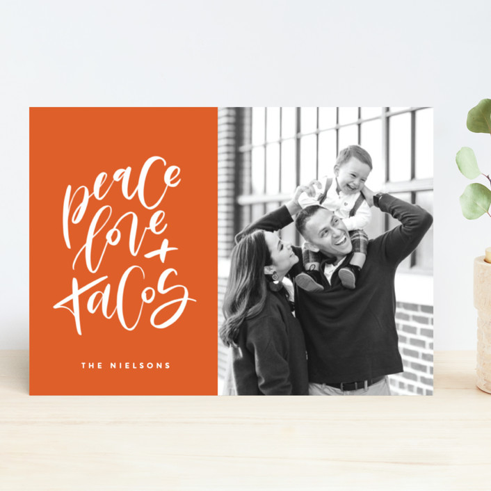 """""""Because Tacos"""" - Funny Holiday Photo Cards in Hot Sauce by Erin L. Wilson."""