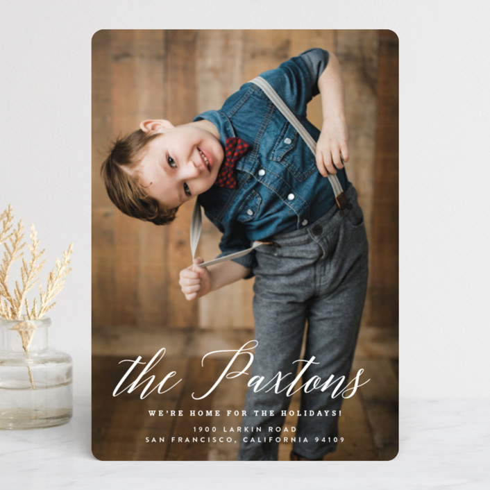 """""""Classic Holiday Moving"""" - Holiday Photo Cards in Snow by Jennifer Lew."""