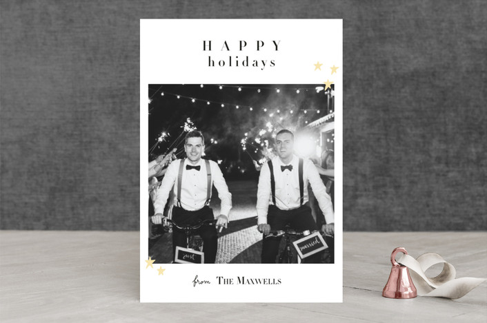 """Married Christmas"" - Holiday Photo Cards in Paramount White by Kate Ross."