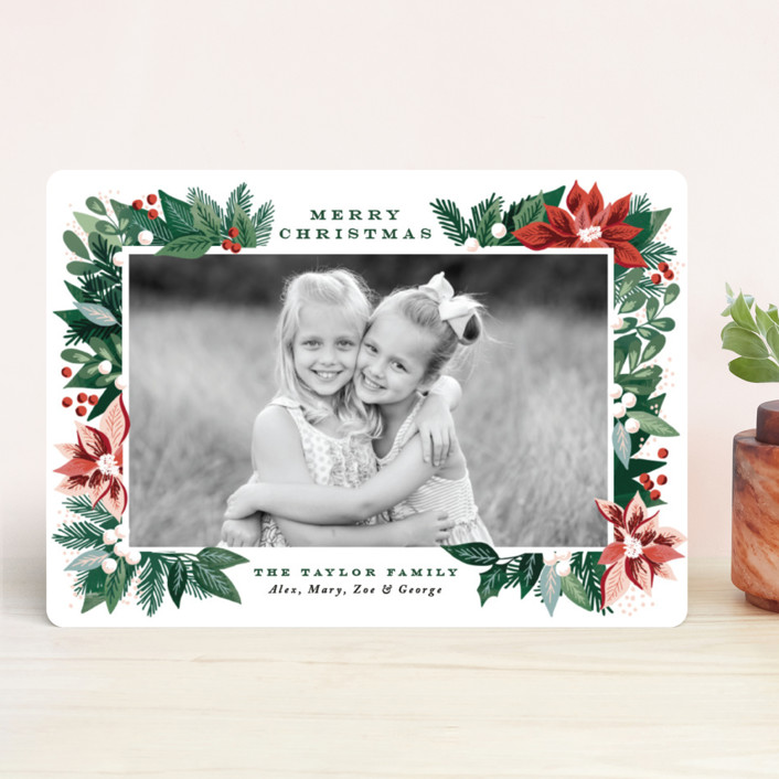 """""""Poinsettia Pine Frame"""" - Holiday Photo Cards in Evergreen by Alethea and Ruth."""