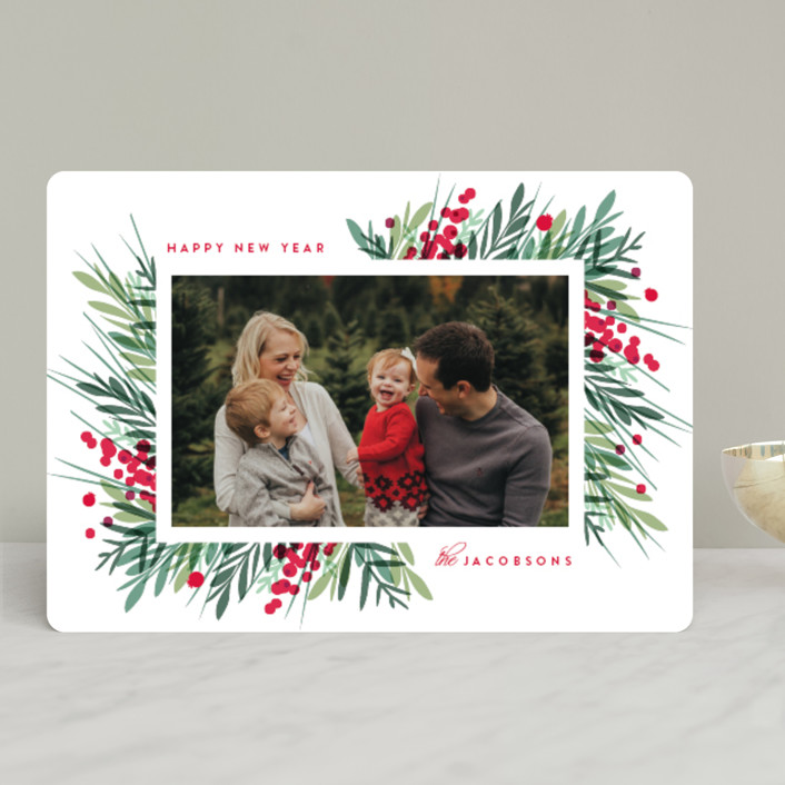 """""""Fresh Winter Greens"""" - Holiday Photo Cards in Holly Berry by Kristie Kern."""